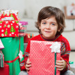 Cute Boy With Holding Christmas Present — Foto Stock