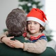 Son Embracing Father During Christmas — Photo