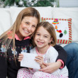 Happy Mother And Daughter With Letter — Stock Photo