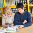 Teacher With Books Explaining Student In University Library — Stock Photo #33910751