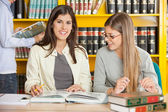 Female Student With Friend Sitting In University Library — Stock Photo