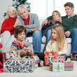 Three Generation Family With Christmas Presents — Stock Photo
