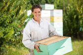 Female Beekeeper Carrying Honeycomb Crate — Stock Photo