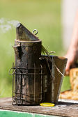 Bee Smoker On Crate — Stock Photo