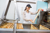 Female Beekeeper Holding Honeycomb Frame — Stock Photo