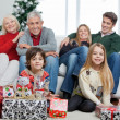 Family With Christmas Gifts In House — Stock Photo