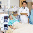 Dialysis Machine With Patient And Doctor — Photo