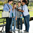 Friends Reading Book Together In College Campus — Stock Photo