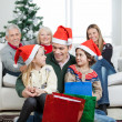 Multigeneration Family With Christmas Presents — Stock Photo