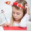 Girl Wearing Headband Writing Letter To Santa Claus — Stok fotoğraf