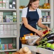 Saleswoman Working In Supermarket — Stockfoto