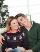 Loving Couple At Home During Christmas — Stock Photo