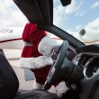Santa Driving Convertible At Airport Terminal — Foto Stock