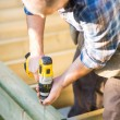 Carpenter Building Deck — Stock Photo