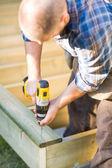 Carpenter Building Deck — Stock Photo