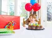 Birthday Girl With Cake And Present On Table — Stock Photo