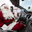 Santa Driving Convertible At Airport Terminal — Stock Photo