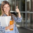 College Student Giving Thumbs Up — Stock Photo