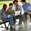 Student Showing Mobilephone To Friends In Campus — Stock Photo