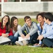 Cheerful College Students Sitting On Grass At Campus — Stock Photo #34249533