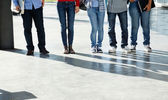 College Students Standing In A Row On University Campus — Stock Photo