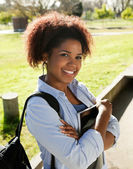 Woman Standing Arms Crossed On College Campus — Stock Photo