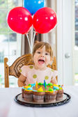 Girl With Mouth Open Sitting In Front Of Cake — Stock Photo
