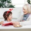 Grandmother Assisting Boy In Writing Letter To Santa Claus — Φωτογραφία Αρχείου