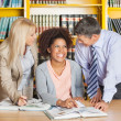 Student With Teachers In University Library — Stock Photo