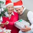 Senior Couple Looking At Present While Decorating Christmas Tree — Stock Photo