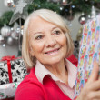 Smiling Woman With Christmas Gift — Stock Photo