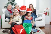 Father And Children With Presents During Christmas — Φωτογραφία Αρχείου