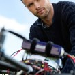 Engineer With UAV Helicopter — Stock Photo