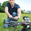 Engineer Fixing Propeller Of UAV Spy Drone — Stock Photo