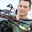 Engineer Holding UAV Octocopter — Stock Photo