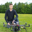 Technician With UAV Drone in Park — Photo