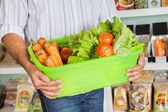 Midsection Of Man Holding Vegetable Basket — Stock Photo