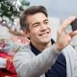 Man Taking Self Portrait Through Smartphone — Stock Photo