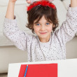 Boy With Cardpaper And Pencil Holding Santa Headband — Stock Photo
