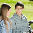 Students With Laptop Looking At Each Other In Campus — Stock Photo