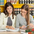 Friends Studying At Table In Library — Stock Photo