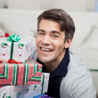 Smiling Mid Adult Man With Christmas Gifts — Stock Photo