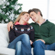 Romantic Couple Looking At Each Other During Christmas — Stockfoto
