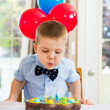 Boy Blowing Candles On Cake — ストック写真
