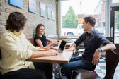 Friends Spending Leisure Time In Cafe — Stock Photo