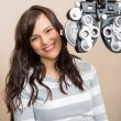 Happy Woman Having Eye Exam — Stock Photo