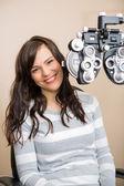 Happy Woman Having Eye Exam — Stock Photo