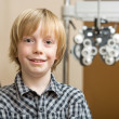 Boy Smiling At Optician — Stok fotoğraf