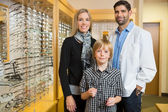 Boy With Optometrist And Mother In Store — Stock Photo