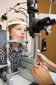 Boy Having His Eyes Examined With Slit Lamp By Doctor — Stock Photo